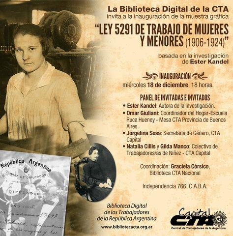 LEY 5291 TRABAJO DE MUJERES Y NIÑOS