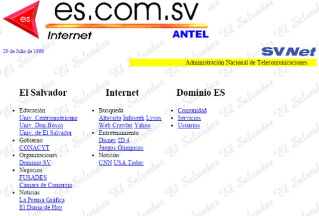 1996 Aparecen los primeros sitios web nacional