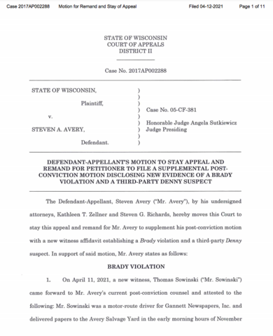 Kathleen Zellner files Motion to Stay the Appeal and Remand - Disclosure of New Evidence of Brady Violation and Third-party Suspect