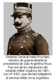 1901 - LEY RICCHIERI DEL SERVICIO MILITAR OBLIGATORIO