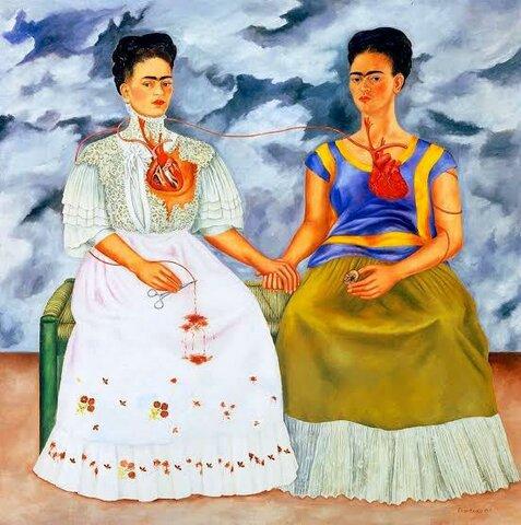 Frida Kahlo expone su cuadro Las dos Fridas