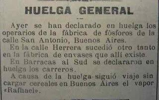 La primera huelga general de la historia argentina