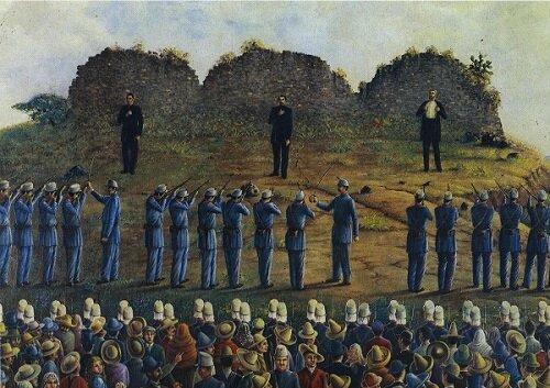 Fusilamiento de Maximiliano de Habsburgo y los Generales Miramón y Mejía.