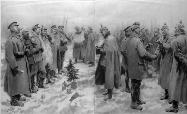 English and German soldiers stop fighting and celebrate Christmas