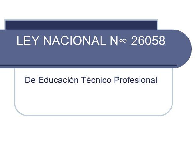 Ley Educación Técnica Profesional