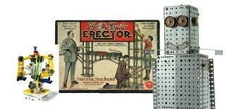 Vintage 98 cent Toys, Blackbird Crystal Set, Erector Set