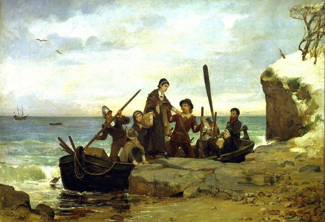 Pilgrims land at Plymouth Rock