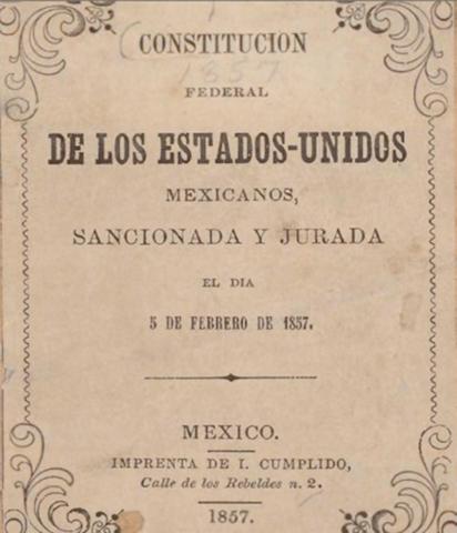 1857 - Constitución Federal  de los Estados Unidos Mexicanos.