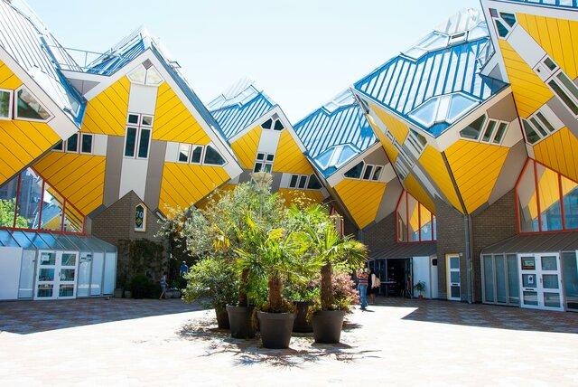 "Piet Blom. ""Cube Houses,"" 1977, Rotterdam, Netherlands."