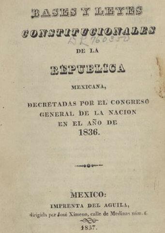 Constitución de 1836 las 7 leyes constitucionales