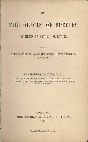 """Libro """"origen de las especies"""""""