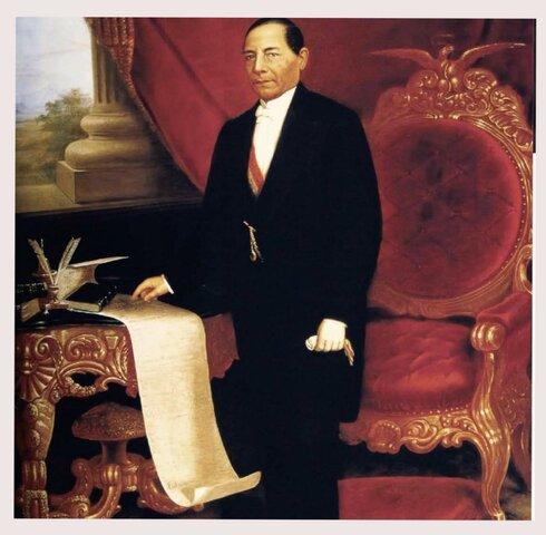 El Presidente Benito Juárez reduce a cuatro las secretarías de Estado.
