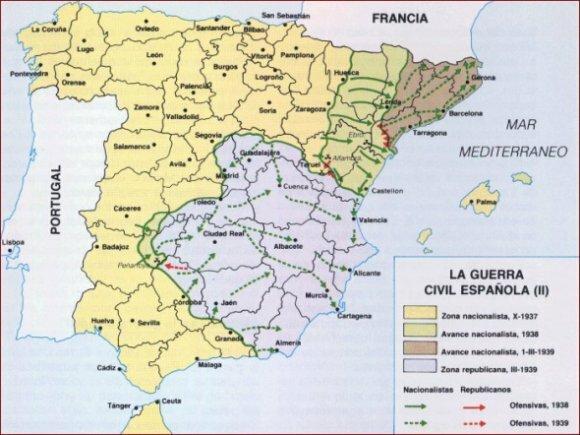 Los franquistas recuperan Teruel a finales de febrero y continúan su avance hacia el Mediterráneo a través del territorio republicano, con lo que dividen éste en dos.