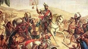 Llegan los conquistadores españoles al mando de Hernán Cortés a tierras mexicanas, por las playas de la Villa Rica de la Vera Cruz.