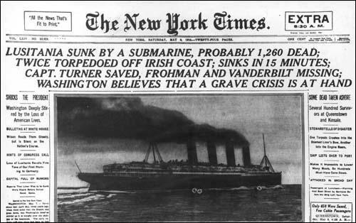 German u boats sink the Lusitania