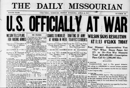 The United States declares war in Germany