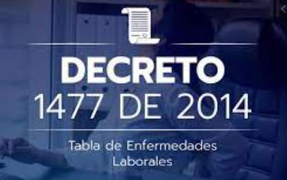 2014,COLOMBIA DECRETO 1477 TABLA DE ENFERMEDADES