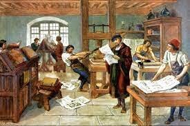 La invención de la imprenta, que permitió la difusión de artículos y de libros a nivel masivo