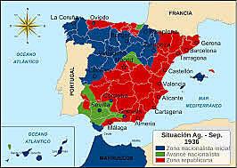 La revolución social se extiende por la zona republicana. Comienza la represión contra el clero y los sublevados. Los sublevados obtienen un tercio del territorio español e institucionalizan la represión contra quienes se les resisten.