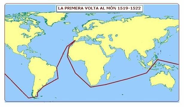 Completació de la primera volta al món, completat pel segon de Fernâo, Juan Sebastián Elcano