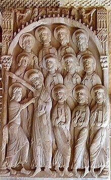Relieve representando la duda de Santo Tomás. Monasterio de Silos