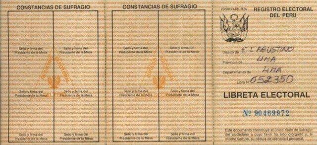 Libreta Electoral de 8 dígitos