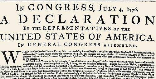 •LA DECLARACIÓN DE INDEPENDENCIA DE ESTADOS UNIDOS (1776)