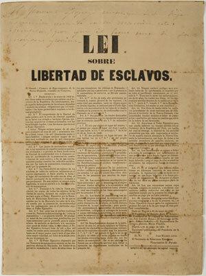 """LEY 21 DE JULIO DE 1821 """"libertad de partos, manumisión y abolición del tráfico de esclavos""""."""