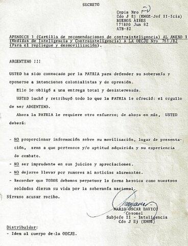Documento que se les hizo firmar a los ex combatientes en Malvinas
