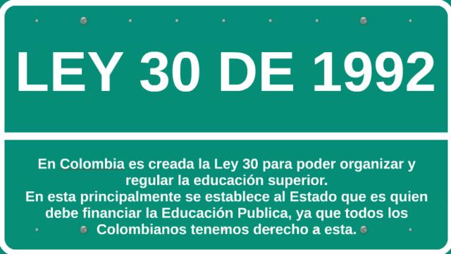 Ley 30 de 1992: Reglamenta la educación superior