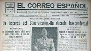 Franco promulga el día 19 el llamado Decreto de Unificación, por medio del cual crea una única formación política legal bajo su mando: FET y de las JONS