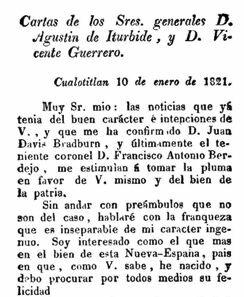 Agustín de Iturbide, militar realista, idea un plan de Independencia e invita a Vicente Guerrero, jefe de la insurgencia.