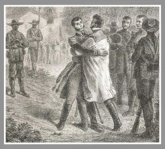 """Guerrero e Iturbide se encuentran y se dan """"el abrazo de Acatempan"""" con lo que se unen para consumar la Independencia."""