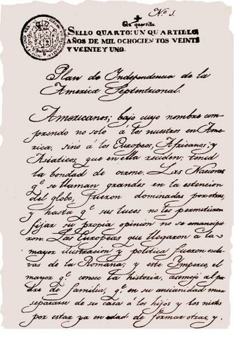 Se proclama el Plan de Iguala por Iturbide y Guerrero que declara la Independencia de México.