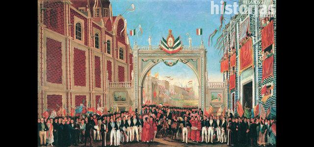 Iturbide, Guerrero y el ejercito trigarante son recibidos en la Ciudad de México.