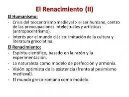 Rasgos importantes del Humanismo Renacentista