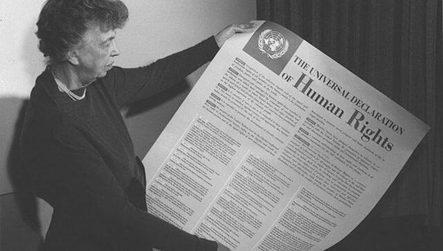 """Carta Fundacional de las Naciones Unidas y acuñación del término El 26 de junio de ese año, en la carta de las Naciones Unidas será la primera vez que aparezca el término de """"derechos humanos""""."""