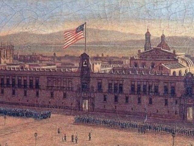 La bandera norteamericana ondea en Palacio Nacional y México pierde la mitad de su territorio.