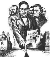 Benito Juárez promulga las leyes de reforma que separan la Iglesia y el Estado.