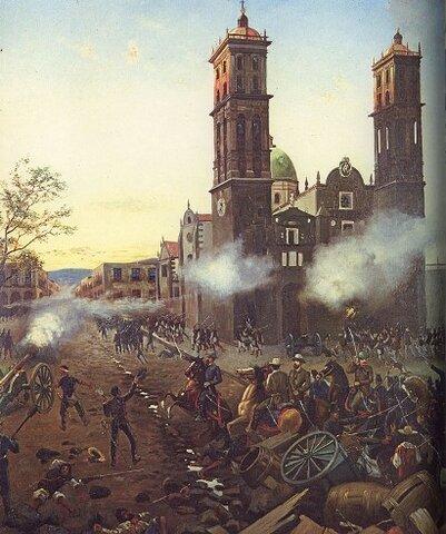 El ejercito liberal de Juárez avanza con velocidad, el imperio se repliega hasta Puebla y Veracruz donde Porfirio Díaz toma Puebla.