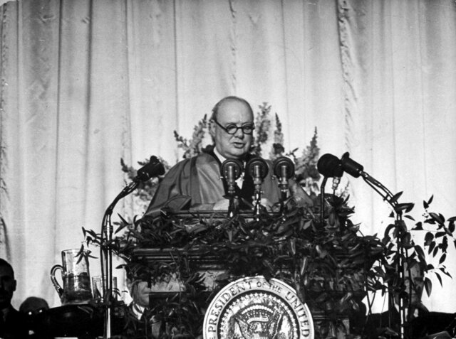 """Churchill Delivers His """"Iron Curtain"""" Speech"""