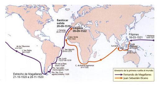 Primera expedició per fer la primera volta al món encapçalat per Fernâo de Magalhâes