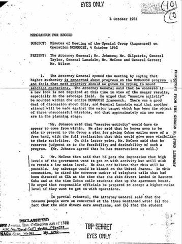 La Operación Mangosta. CIA.