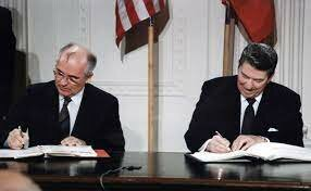 Reagan And Gorbachev Sign INF Treaty