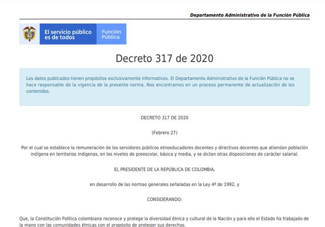 Amplia escala salarial a docentes etnoeducadores. (Decreto 317 de 2020)