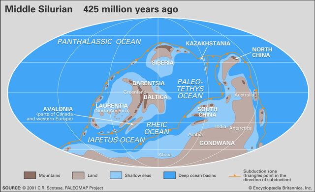 Several continental masses join together and cause an ice age and the Caledonian orogeny