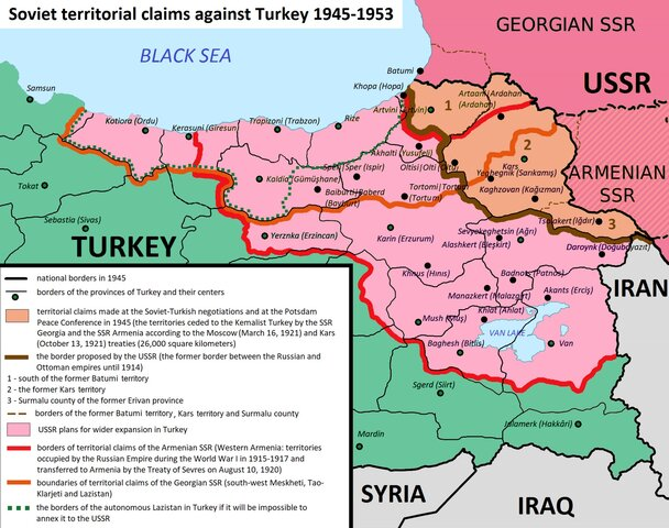 Turkey and Iran confronted by Soviet Union