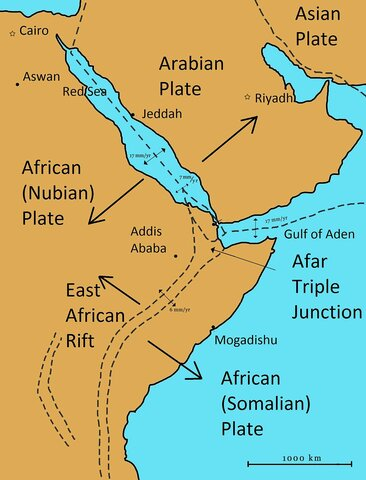 The Red Sea and the Great Rift Valley open up