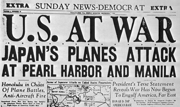 Gli Stati Uniti d'America dichiarano guerra all'Impero del Giappone