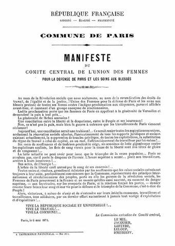 Manifesto of the Central Committee of L'UNION DES FEMMES POUR LA DÉFENSE DE PARIS ET LES SOINS AUX BLESSÉS